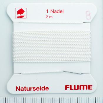 parelzijde natuur wit nr. 5 -0,65mm - 2m / 1 naald