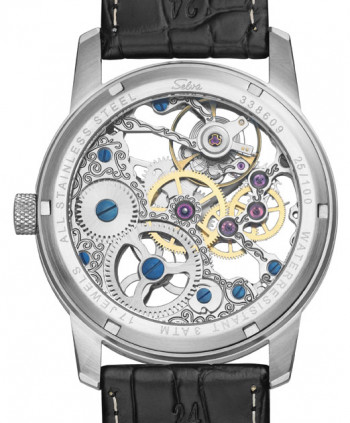 SELVA Hand winded skeleton watch with small second, silver/ black