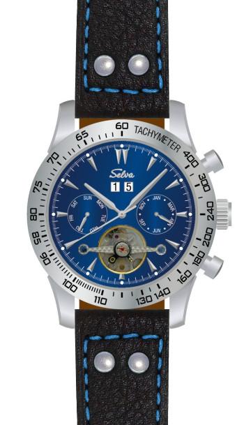 SELVA Polshorloge »Hector« - Tachymeter - blauwe wijzerplaat