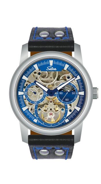 SELVA Montre-bracelet d'homme »Santos« - Soleil/lune - squeletté - Blue-Motion