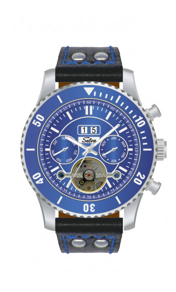 SELVA Montre-bracelet d'homme »Vito« - Grand Date - bleu