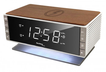 TECHNOLINE Radio wekker met Qi opladen vlak