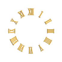 Cijferset Romeins cijfers kunststof vergulded L=18mm