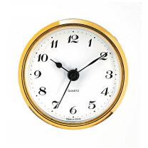 Insteekuurwerk UTS Trommel Ø 57 mm, ring Ø 65 mm geel, wijzerplaat wit, Arabische cijfers