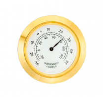 Mini inbouw themometer MM, Trommel Ø 37.5mm, ring Ø 40mm geel, wijzerplaat wit-antiek