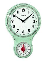 Atlanta 6124/0 Keukenwandklok nostalgie quartz groen met timer