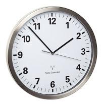 TFA Radio controlled wall clock aluminium Ø 305mm silent movement
