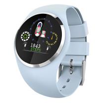 Fitness Tracker licht blauw, rond met kleurendisplay