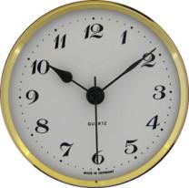 Insteekuurwerk UTS Trommel Ø 57 mm, ring Ø 72 mm geel, wijzerplaat wit, Arabische cijfers