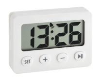 Réveil numérique avec minuterie et chronomètre, blanc