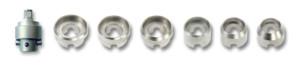 6 geribbelde inzetstukken en adapter voor behuizingopener met handwiel Bergeon