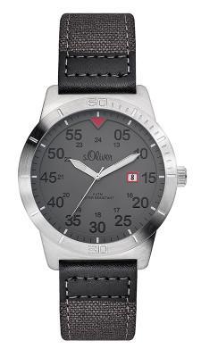 s.Oliver Textil-/ Lederband grau, schwarz SO-2978-LQ