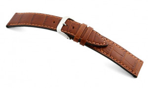 Lederband Tampa 18mm cognac met alligator print
