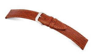 Lederband Bahia 8mm cognac mit Krokodillederprägung