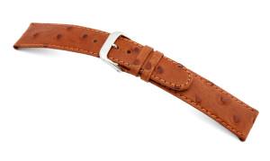 Lederband Dundee 12mm cognac met struisvogel print