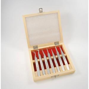 Set spiraaltangen in een houten kist, 7 stuks