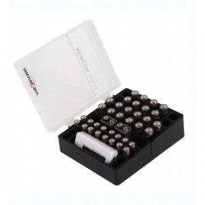 Storage box for batteries incl. battery tester