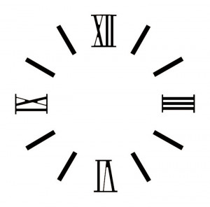 Cijferset Romeins cijfers Messing zwart L=15mm