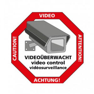 "Sticker ""Let op: videobewaking"""
