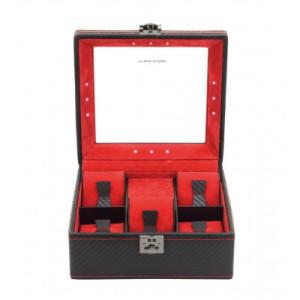 LED horlogebox voor 5 horloges zwart/rood