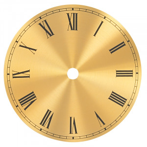 Number face brass yellow matted with roman numbers for home and house clocks Ø: 175mm