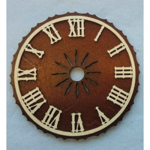 Wijzerplaat bruin hout met Romeinse cijfers voor koekoeksklok Ø: 60 mm