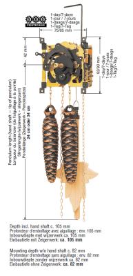 Koekoeksklok uurwerk SBS 25, 1-daagse, houten slinger 24cm, dennenappelgewichten, ketting, Gongveer