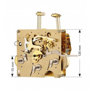 Regulateur uurwerk  Hermle 351-051, 8-daags, slingerlengte 48cm , slag op gong
