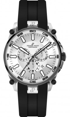 Pierre Petit Chronograaf Le Mans zilver/zwart - Swiss Made