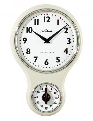 Atlanta 6124/0 Keukenwandklok nostalgie quartz wit met timer