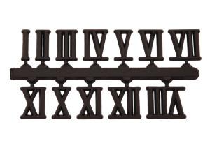 Cijferset 1-12 kunststof zwart 10mm Romeinse cijfers, zelfklevend