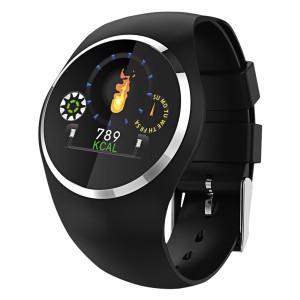 Fitness Tracker, schwarz, mit rundem Farbdisplay