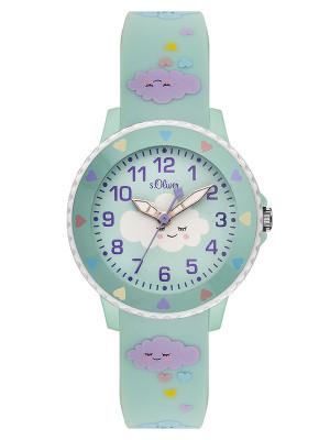 s.Oliver horlogenbandje silicone turkoois SO-3563-PQ