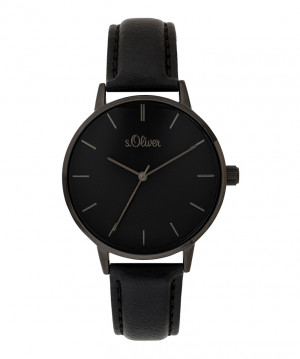 s.Oliver imitatieleer horlogebandje zwart SO-3647-LQ