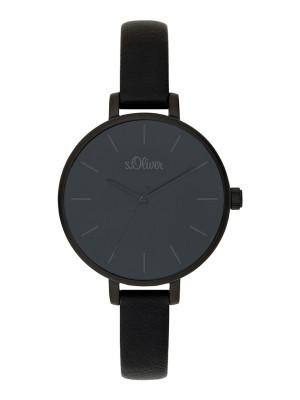 s.Oliver imitatieleer horlogebandje zwart SO-3654-LQ
