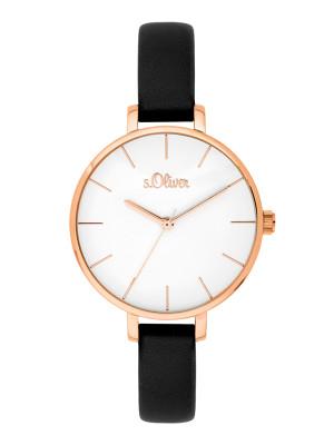 s.Oliver imitatieleer horlogebandje zwart SO-3653-LQ