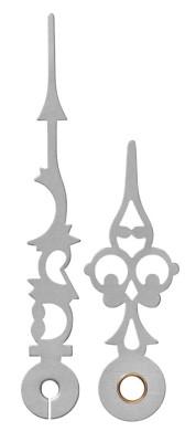 Wijzerpaar Antiek zilverkleurig mat, Minuutwijzer L: 83mm