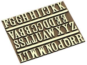 Letterset 18mm, A-Z Alfabet geel
