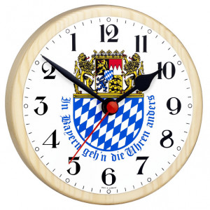 Bavarian clock with coat of arms - reverse moving clock