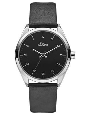 s.Oliver SO-3731-LQ lederband zwart 18mm