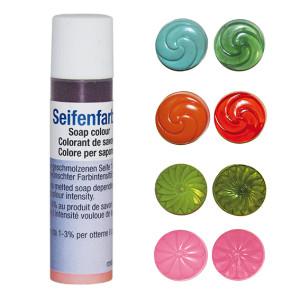 Set zeepkleuren transparant, 4 stuks: Oranje, olijfgroen, mint, roze