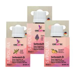 Zeep parfumolie set van 3: Seringen, Mandarijn, Vanille