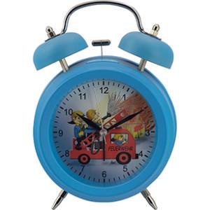 Kwarts kinderwekker met dubbele bel, blauw brandweer