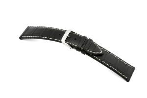 Leather strap Saboga 22mm black with alligator embossment