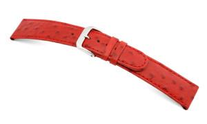 Lederband Dundee 12mm rood met struisvogel print