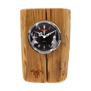 Oud-hout klok, zwarte wijzerplaat, Made in Germany