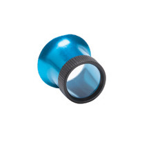 Loep blauw van geanodiseerd aluminium, vergroting 2,5x