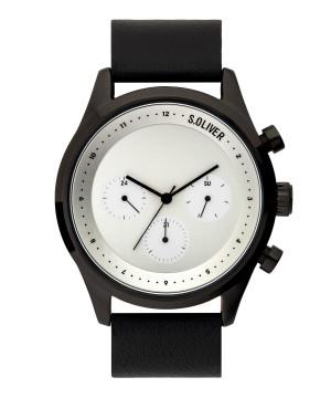 s.Oliver SO-3721-LM Leder zwart 22mm