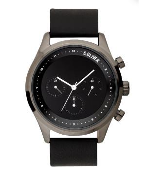 s.Oliver SO-3722-LM Leder zwart 22mm