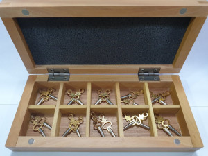 Pocket watch keys #1-10 in wooden box
